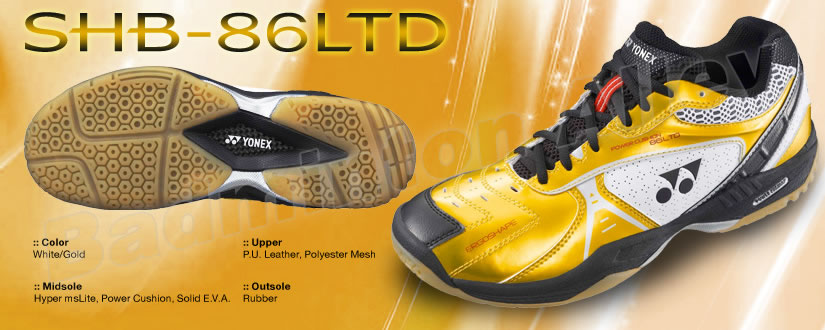 Yonex SHB-86LTD Limited Edition 2012 White/Gold Badminton Shoes