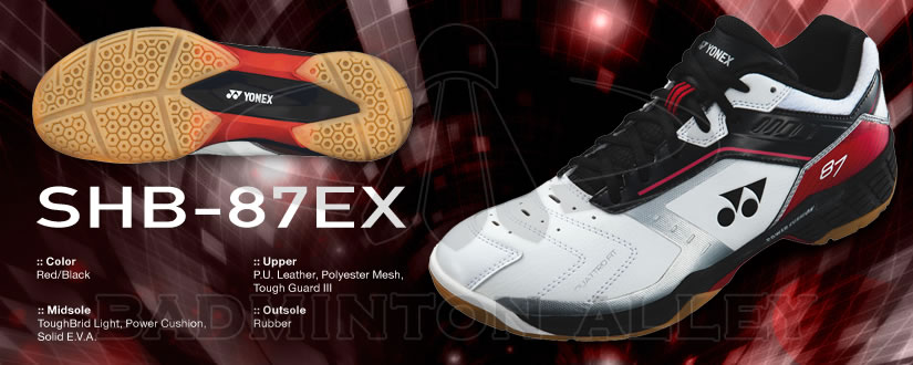 Badminton Alley - Yonex SHB-87EX Red Black Badminton Shoes